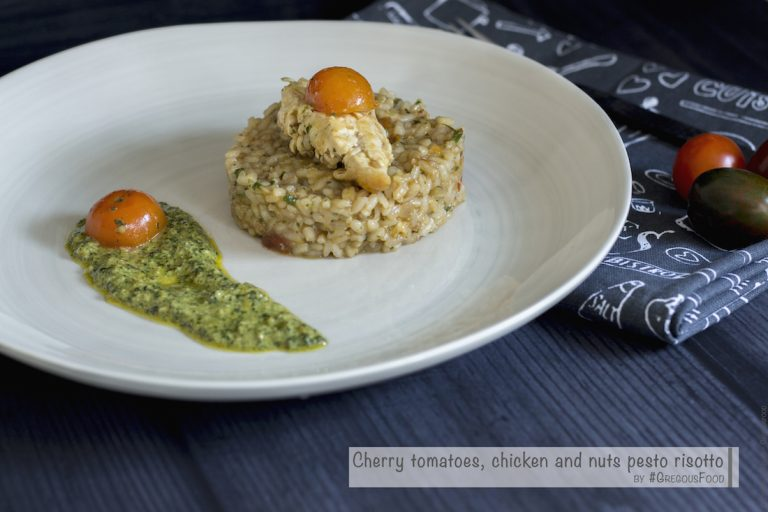 Chicken, tomatoes cherry & nuts pesto risotto